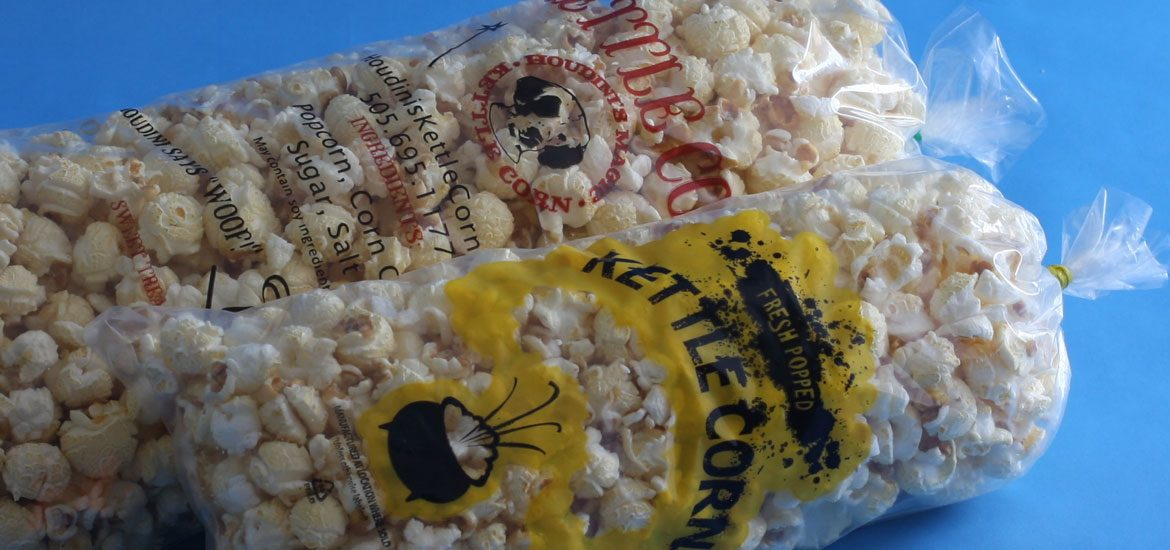 Custom printed kettle corn bag